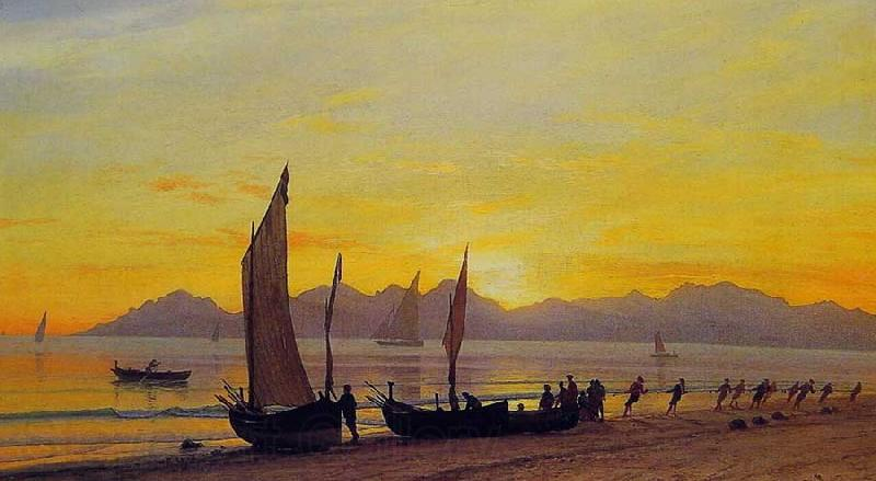 Albert Bierstadt Boats Ashore at Sunset